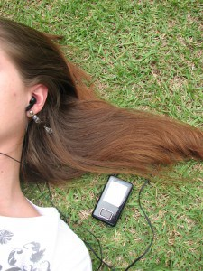 listenting to music-grass-female-relax